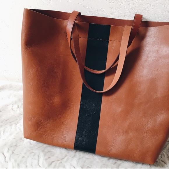 d7fd4722bf Madewell Handbags - Madewell Paint Stripe Cognac Leather Tote
